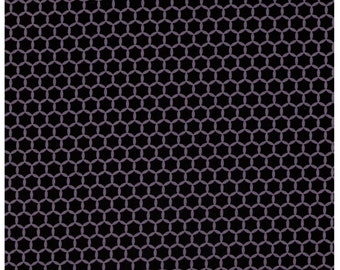 HALF YARD Yuwa Fabric - Kei Geostyle Hexacomb Black and Grey - Honeycombs Polka Dots by Kei - Japanese Import Fabric
