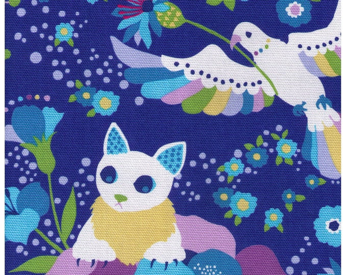 HALF YARD Kiyohara - Kayo Horaguchi - Cats, Claws and Birds on BLUE - 50-Bl - Cotton Canvas - Imported Japanese Fabric