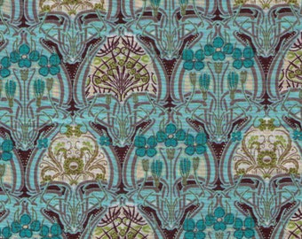 HALF YARD Yuwa - Aqua, Cream and Brown Small Interlocking Floral Medallion - LAWN - 319684 C Art Nouveau Flowers - Live Life Collection
