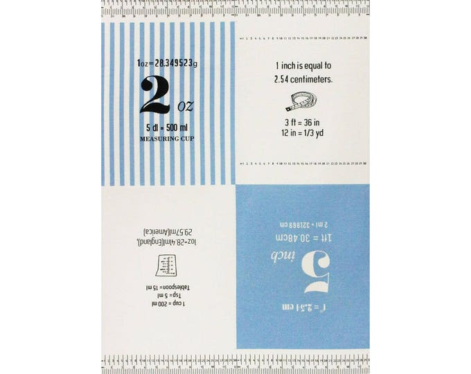 PANEL Lecien - Cotton Style 2017 - Measurements in BLUE 40757-70 - Numbers, Text, Ruler, Metric - Canvas- Japanese Import