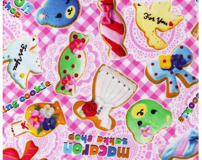 HALF YARD Kokka - Photo Realistic Icing Cookie on PINK Gingham - Iced Cookies by Push Pin, Macaron Zakka Shop - Bear Bow Dress Kitty Candy
