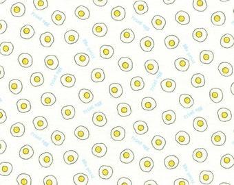 HALF YARD Lecien - Minny Muu WHITE Fried Eggs - 40719-10 - Egg White Yoke Sunny Side Up - Yellow Polka Dot - Japanese Imported