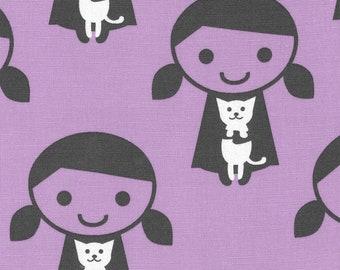 HALF YARD Kiyohara - Girl and Her Cat on Purple - Puti De Pome - PTMF 120 Pp - Cotton Linen Blend - Kitten, kitty - Import