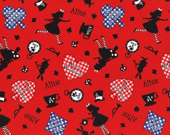 HALF YARD Lecien - Girl's Story 40601-30 - Alice in Wonderland Mix on RED -  White Rabbit, Queen of Hearts Bows