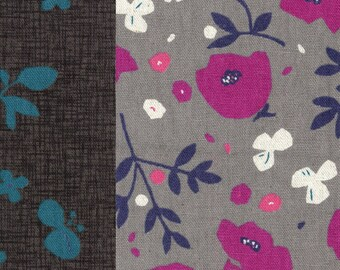 HALF YARD Lecien - Kanon Collection - Gingko, Floral and Dot Cheater in Spring - 40835-50 - Cotton/Linen Blend - Japanese Import