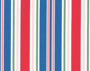 HALF YARD Lecien - Peach, Pink, Watermelon Red, Bright Blue and Green STRIPES - 40659-30 - Flower Sugar Maison Spring 2016 - Japanese