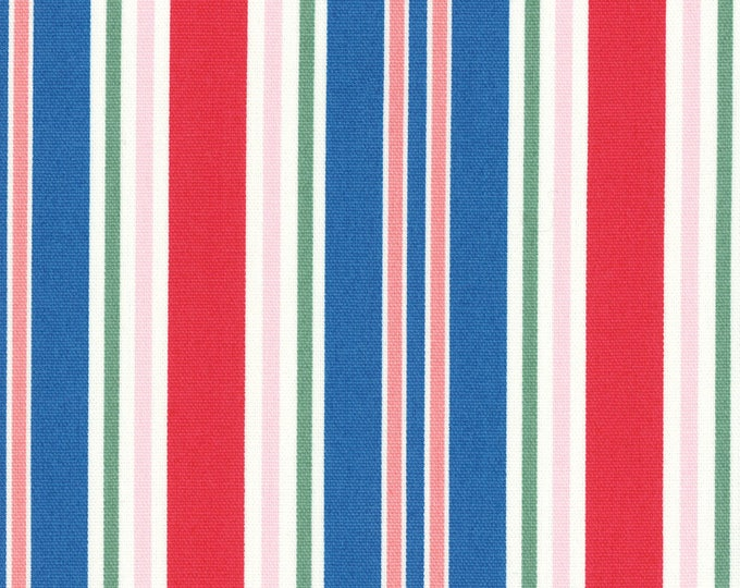 Sale HALF YARD Lecien - Peach, Pink, Watermelon Red, Bright Blue and Green STRIPES - 40659-30 - Flower Sugar Maison Spring 2016 - Japanese