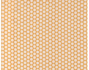 HALF YARD Yuwa Fabric - Cream Ivory Kei Honeycombs on Yellow - Color 102 - Polka Dots by Kei - Japanese Import Fabric