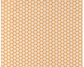 SHIP NOW - One Yard Precut - Yuwa Fabric - Cream Ivory Kei Honeycombs on Yellow - Color 102 - Polka Dots by Kei - Japanese Import Fabric