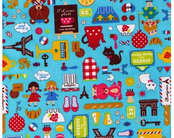 HALF YARD- French Mix on Light BLUE 41410-1C - Bears, Cooking, Travel, Teapot, Mushroom, Paris, France, Cat, Bonjour Cosmo Textile Japanese