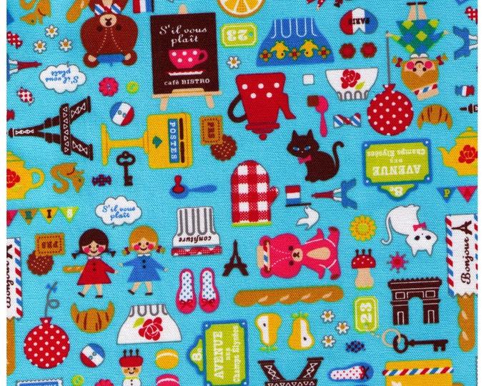 HALF YARD- French Mix on Light BLUE - Bears, Cooking, Travel, Teapot, Mushroom, Paris, France, Cat, Bonjour - Cosmo Textile Japanese Import