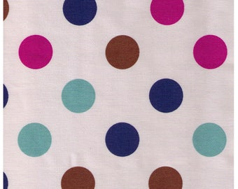 HALF YARD - Lecien Flower Sugar Maison - 40401-11 Stone Background with Multi Large Dots - Teal Raspberry Brown Navy Blue  - Japanese