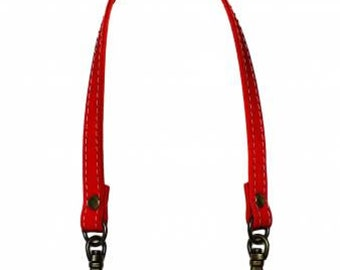 "Inazuma - 12-1/2"" Swivel Hook Purse Handle - RED - Synthetic Leather and silver clasp - Japanese Imported Notions"