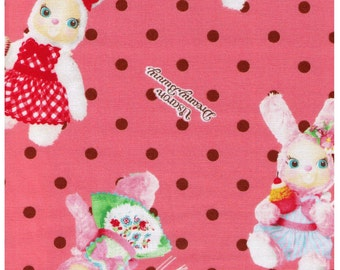 HALF YARD Kokka - Usaron Dreamy Bunny on Pink with Brown Polka Dots, balloons, cupcakes 35500-500A - Japanese Imported Fabric