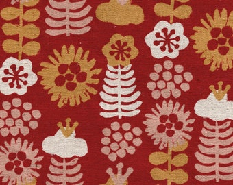 HALF YARD Kokka Eggpress - Large Flowers 5400-3A - Orange, Pink and Natural on Red Lightweight Canvas  - 80 Cotton 20 Linen