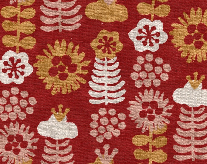 Featured listing image: HALF YARD Kokka Eggpress - Large Flowers 5400-3A - Orange, Pink and Natural on Red Lightweight Canvas  - 80 Cotton 20 Linen