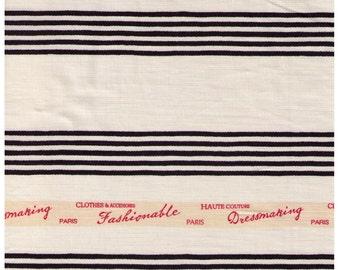 HALF YARD Yuwa - Ticking stripe BLACK - Fashionable Paris Haute Couture Dressmaking Paris 916420-E - Suzuko Koseki - Japanese Import Fabric