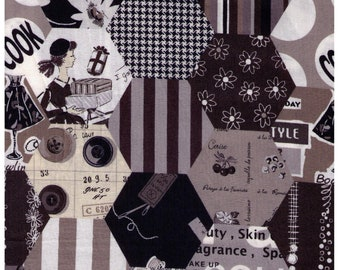 HALF YARD Yuwa - Hexagon Cheater in Black Grey Scale - LARGE scale SZ826379 D - Suzuko Koseki - Paris Bonjour France Merci Modes Le Magazine