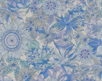 HALF Yard - Cosmo - Garden Delight II in Blue with White Background - Lawn 92406-2B - Flower, Floral, Bouquet, Garden - Japanese Import