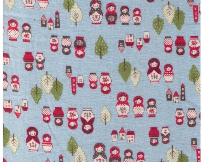 HALF YARD Kokka - Russian Nesting Dolls on Light Blue - Matroyshka Dolls, Forest and town - Little Red Riding Hood - Double Gauze - Japanese