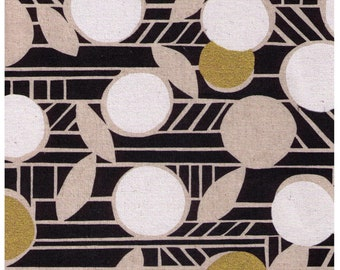 HALF YARD Kokka - Paper by Ellen Baker - Flowers 5201-1A -Black White and Gold Metallic on Natural Background - 80 Cotton 20 Linen Canvas