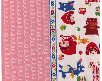 HALF YARD Kiyohara- Little Red Riding Hood Border Print on Off White 07OW -  Bad Wolf, Grandmother, Hedgehog, Bunny, Strawberries Fairytale