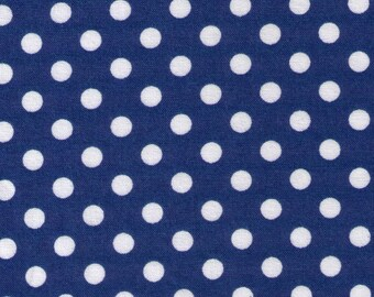 HALF YARD - Cosmo Textile Blue with White Polka Dots CR883112N - Japanese Import Fabric