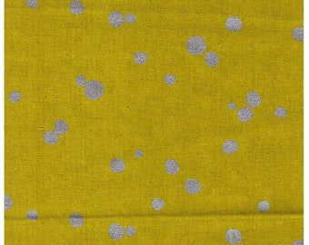 HALF YARD Kokka Echino Nico - Silver Metallic Dots on Mustard  -97050-52D- Cotton Linen