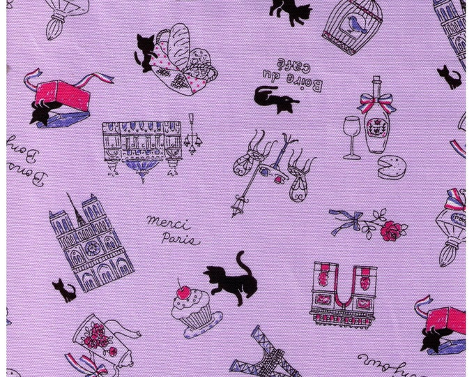 Half Yard - Paris Kitty on Light PURPLE - Eiffel Tower, Coffee and Tea, Cafe, Black Kitty, Antique Key, France - 40968-110 - Japanese Import