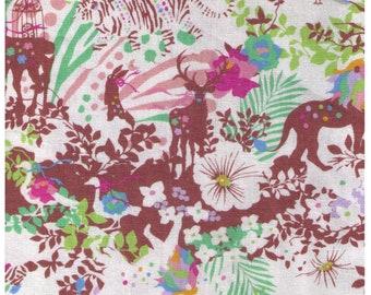 HALF YARD Kiyohara - Kayo Horaguchi - HKF-51BE Light Pastels on Ivory - Rainbow Tiger, Lion, Stag Deer, Bunny, Zebra, Forest - Linen Cotton