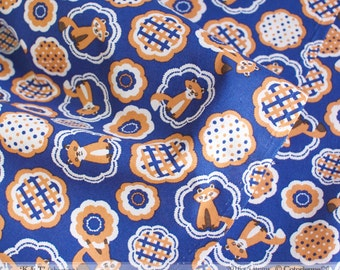 HALF YARD - Foxes on Marine Blue - Colorway E -Tanuki - K and T Cotorienne Yuwa - Japanese Import Fabric 112532 E