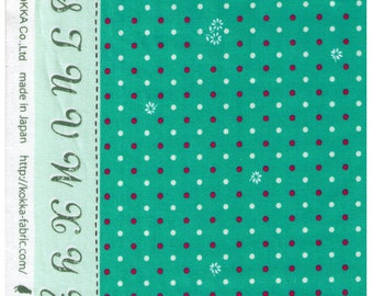 HALF YARD Kokka -  Lighthearted on Teal HFG105-6B - Flower and White Watermelon Pink Polka dots on Teal Green - Alphabet border
