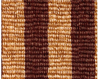HALF YARD - Photo Realistic Natural and Brown Striped Basket Weave, Oxford Cotton 42404-3 - Cosmo Textiles, Japanese Import