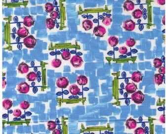 HALF YARD Yuwa - Pretty Floral on BLUE - 060-A - Pink Flowers in Garden - Quilting Cotton
