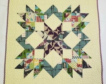 """QUILT KIT for Designer Star Quilt by May Chappell - Kit for 19""""  x 19"""" Wall Hanging - Yuwa Suzuko Koseki and Lecien 1000 Solids"""