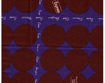 HALF YARD Yuwa -Brown Dots on Dark Blue with French Text- Suzuko Koseki 826010  - Japanese Import - Paris Bonjour France Merci Postage Stamp