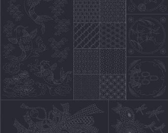 "QH Textiles - SASHIKO Joyful Family Carp Sampler on Deep PURPLE - Approx Panel 38"" x 44"" - 100% Cotton Dobby - Hand Stitching Japan"