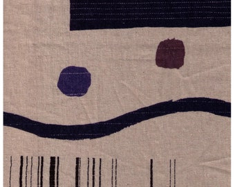 HALF YARD Yuwa - Quilt  JZ442685-E Dark Colorway on Linen - Yoshiko Jinzenji - 100% Linen - Blue, Black, Grey, Brown - Low Volume Print