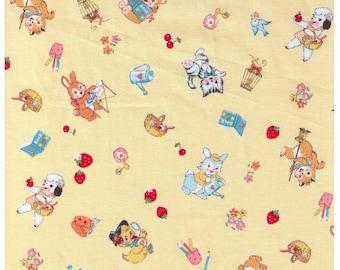 HALF YARD Yuwa - Little Animals on Yellow - Bear Kitten Deer Squirrel doing chores, playing 826484D - Atsuko Matsuyama 30s -Japanese Import