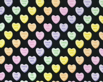 HALF YARD Kokka Pastel Pop -Vertical Candy Hearts on BLACK 76040-2D - Valentine Conversation Hearts Kiss Me Sweet Talk - Japanese Import