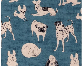HALF YARD Yuwa - Dogs on Teal - Cotton oxford  1530007-1 - Charmant Collection - Japanese