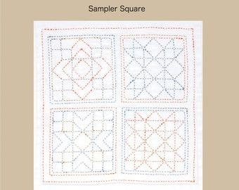 "TULIP - Sashiko World Kit - AMERICA Sampler Square #005 - 12"" Pillow Dish towel - Hand Quilting & Stitching- Japanese"