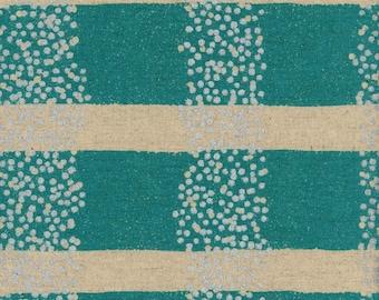HALF YARD Kokka Echino - FIELD Aqua with Silver Metallic dots  - Jg97030-32B - Cotton Linen Canvas