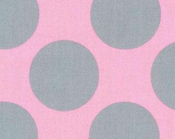 HALF YARD Kokka - Teiban Extra Large Dots - Grey Extra Large Dots on PINK 69080-2D - Japanese Import Fabric