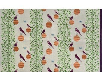 HALF YARD - Echino - Bird Perched on Ball - Natural Colorway 90100-100A - Cotton Linen Canvas - Geometric, Stripe, Bird, Dot, Butterfly