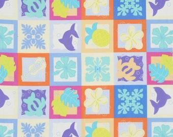 HALF YARD Lecien - Island Style Kathy Mom Cheater Blocks 20107-70 - Blue/Purple/Yellow Floral - Gardenia, Hawaii - Japanese Import