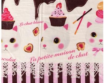 HALF YARD Project by Cotton - La Petite Maison de Chat - Bonbon au chocolat Cats - Pink Stripes - Chocolate Bar, Cupcake, Macaron,  Japan