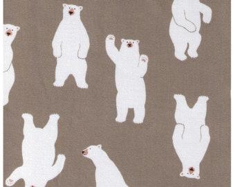 HALF YARD - Waving Polar Bears on STONE Beige - 850210-2-2 - Rows of Polar Bear - Cotton Oxford - Japanese Imported Fabric