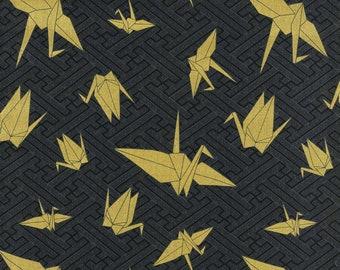 HALF YARD Kokka - Gold Metallic Origami Cranes on BLACK - Japanese Imported Fabric