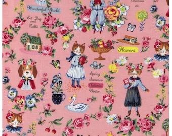 HALF YARD Yuwa - Sobakasu Kids Wonderful World Season on PINK - Cat Dog, Rabbit - Cotton Oxford - Swan, English Rose Garden, Paris, Bunny